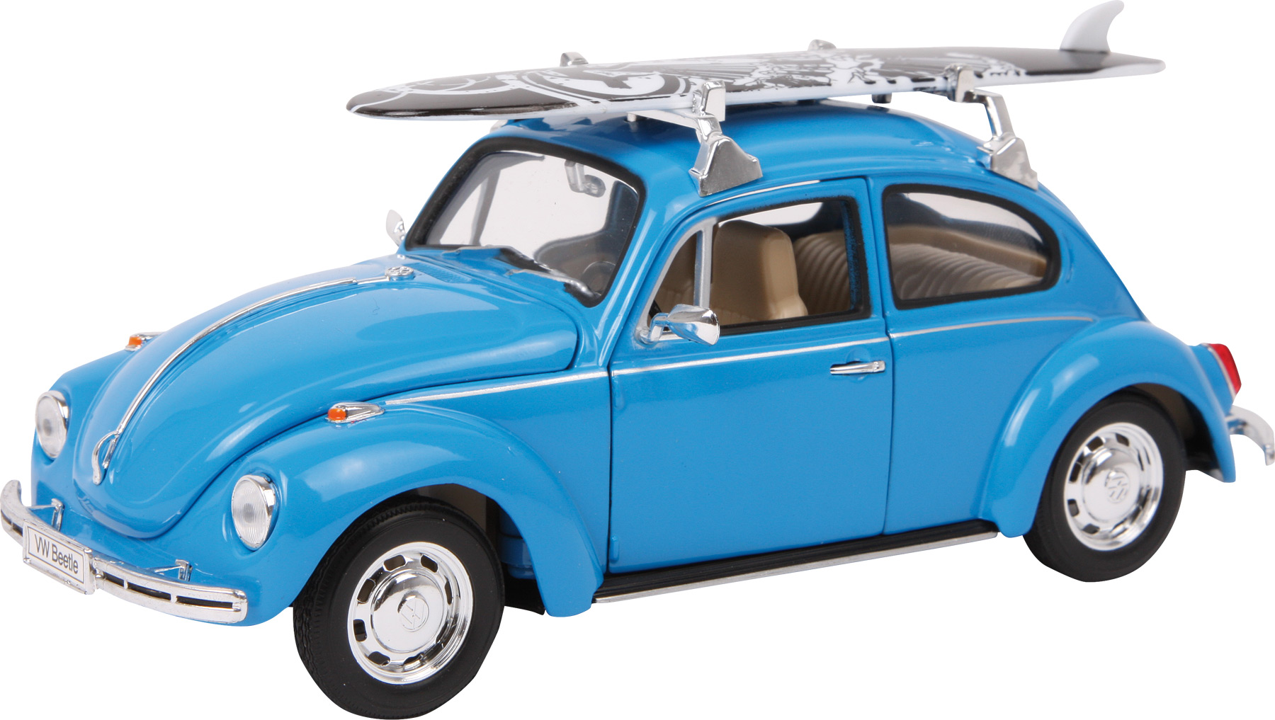 Model auta VW Beetle + surfovací prkno